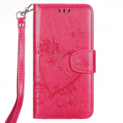 IKASEFU Retro Pressed Love Heart Flower Pattern Strap Flip Wallet Case Cover with Stand for Samsung Galaxy S6 Edge-Rose Red
