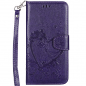 iPhone 6S Plus Leather Case,IKASEFU Retro Pressed Love Heart Flower Pattern Strap Flip Wallet Case Cover with Stand for iPhone 6 Plus/6S Plus 14cm -Purple