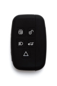 Silipac Black Protective Silicone Car Key Cover Keyless Entry Remote Holder Rubber Case Skin Fob Protector Shell 5 Smartkey Buttons for Land Rover Range Rover Evoque Discover Sport
