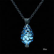 KeyZone Girls Steampunk Fairy Teardrop Glow in the Dark Necklace Jewellery Blue