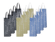 """Heart Paper Products 12 Piece Elegant Wine Gift Bags """"Cheers"""", 3 Assorted Colours"""
