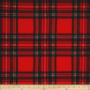 Winter Fleece Stewart Plaid Red Fabric By The Yard