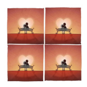 Naanle Happy Valentines Day Love Couple Washable Placemats 30cm X 30cm Set of 4 Place Mats for Dining Table