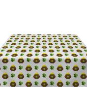 Lucky Shamrocks & Gold White Milliken Polyester Tablecloths - Assorted Sizes