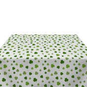 Tossed Shamrocks White Milliken Polyester Tablecloths - Assorted Sizes