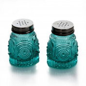 The Pioneer Woman Adeline Teal Pressed Glass Salt and Pepper Shaker Set