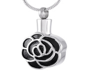 Casket Etcetera Black Roses Cremation Urn Pendant Necklace Jewellery For Ashes