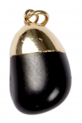 1 (ONE)Black Tumbled Pendant Charm Necklace Jewellery Gift