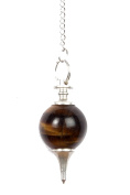 Tiger Eye Gemstone Ball Pendulum Reiki Healing Chakra Point Dowsing Metaphysical Tool