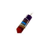 7-Chakra Pendant With Silver Thin Wire Wrapped
