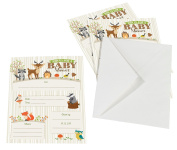 Lillian Rose 8-Piece Woodland Baby Shower Invitations, Neutral, 13cm x 18cm