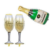 Aerfas Aluminium Film Champagne Bottle and Goblet Hydrogen Foil Balloons For Bridal Wedding Celebration Birthday party decoration supplies