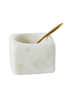 Creative Co-Op White Marble Salt Bowl with Salt Spoon
