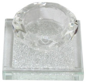 Crystal Salt Holder with Silver Chips