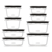 Rubbermaid Premier food storage plastic and Easy Fine Lids Grey Set of 16