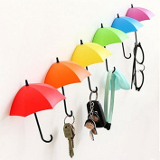 Generic Key Holder Key Hanger Wall Key Colourful Umbrella Wall Rack Wall Key Holder Key Organiser for Keys Jewellery And Other Small Items Pack of 6
