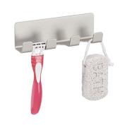 mDesign AFFIXX Strong Self-Adhesive Rustrpoof Aluminium Bathroom Shower Hook Rack for Loofahs, Razors - Silver