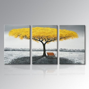 Winpeak Hand Painted Yellow Tree Modern Oil Painting Landscape Canvas Wall Art Abstract Picture Home Decoration Contemporary Artwork Framed Ready to Hang (100cm W x 50cm H