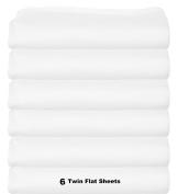 Twin Size Flat Sheets, Cotton/Poly, 170cm x 260cm .,white, 6-Pack