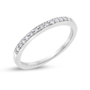 0.15 CT Natural Diamond 2mm Wedding Band in Solid 14k White Gold