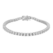 Sterling Silver 18cm Lab Created White Sapphire Tennis Bracelet