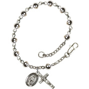 Sterling Silver Rosary Bracelet 5mm Sterling Silver Round beads, Crucifix sz 5/8 x 1/4.