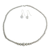 Sterling Silver Graduated High Polish Bead Necklace and Earring Set.
