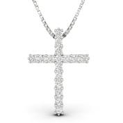 1.00ctw Natural Diamond Cross Pendant in 10k White Gold