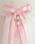 CHRISTENING BOW, two coloured rosette with guardian angel from Grace of Sweden