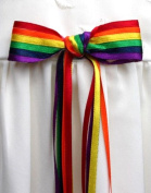 CHRISTENING BOW, handmade rosett with pastel rainbow colours from Grace of Sweden