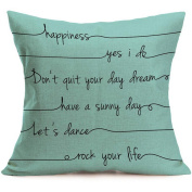 Clode® Letter Square Pillow Cover Cushion Case Pillowcase Zipper Closure
