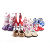 5 pairs of ZWSISU Doll Shoes Include Boots Leather Shoes and Cloth shoes Fits 46cm American Girl Doll