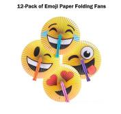 12 Emoji Style Foldable Paper Fans by Rhode Island Novelty!