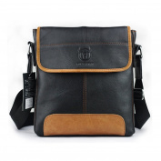 The Ninth Day Genuine Leather Casual Messenger Shoulder Bags For Men & Women, Black and Brown Crossbody Satchel Bag