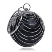Flada Women's Ball Shape Crystal Evening Clutch Purse Wedding Party HandBags Black