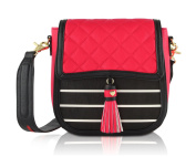 Betsey Johnson Women's Hanging Tassel Quilted Flapover Crossbody Bag - Red