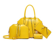 Yan Show Women's Shoulder Bags Totes Handbags With Matching Wallet Purse 4 Pieces Set /Yellow
