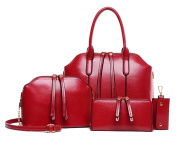 Yan Show Women's Shoulder Bags Totes Handbags With Matching Wallet Purse 4 Pieces Set /Wine Red
