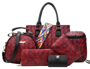 Yan Show Women's Shoulder Bags Totes PU Handbags With Matching Wallet Purse 6 Pieces Set /Wine Red