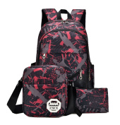 Yan Show Women's Canvas Backpack Shoulder Bag With Matching Handbag 3 Pieces Set /Red