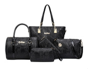 Yan Show Women's Shoulder Bags Totes Patent Leather Handbags With Matching Wallet Purse 5 Pieces Set /Black