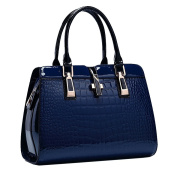 Yan Show Women's Patent Leather Shoulder Bags Crocodile Pattern Totes Stone Pattern Handbags /Dark Blue