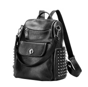 Yan Show Women's Rivets Shoulder Bags Leather Backpack Handbags /Black