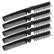 HimanJie Plastic Double Headed Foldable Straight Hair Beauty Comb 5 Pcs Mix colour