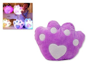 DSstyles Orignial Luminous Colourful Glow Paw LED Light Up Pillow Soft Cushion with Speaker - Purple