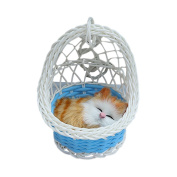 Drasawee Super Cute Kids Stuffed Simulation Animal Doll Hanging Basket Cat Toy With Sound 1#