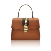 GIORGIA Flap handbag light gold chain accessory bicolor smooth stiff leather Made in Italy