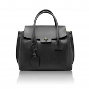 AURORA Tote Handbag grained stiff leather Made in Italy