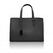 HILLARY Tote handbag briefcase with dark nickel accessory smooth leather Made in Italy