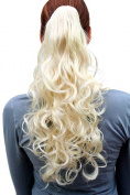 WIG ME UP ® - C-128-613 Hairpiece PONYTAIL medium length curls PLATINUM BLOND Butterfly-Claw/Clamp 46cm